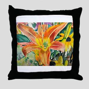 Tiger Lily Original Watercolor Throw Pillow
