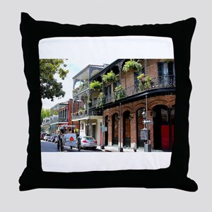 French Quarter Street Throw Pillow
