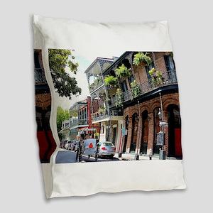 French Quarter Street Burlap Throw Pillow