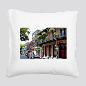 French Quarter Street Square Canvas Pillow