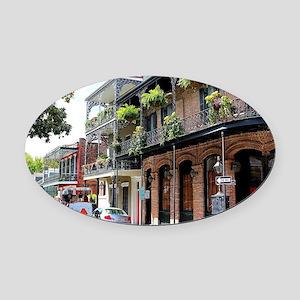 French Quarter Street Oval Car Magnet