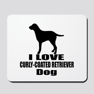 I Love Curly Coated retriever Dog Mousepad