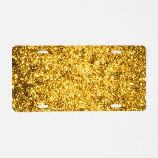 Golden Glitter Aluminum License Plate
