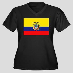 Equador Women's Plus Size V-Neck Dark T-Shirt