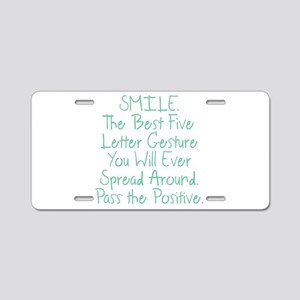 SMILE Aluminum License Plate