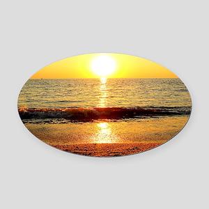 Sunset Beach Oval Car Magnet