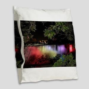 American Falls at night Burlap Throw Pillow