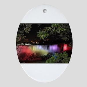 American Falls at night Oval Ornament