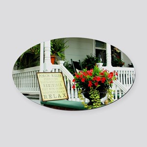 Porch Relaxing Oval Car Magnet