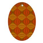 Artwork Orange Fractal Oval Ornament