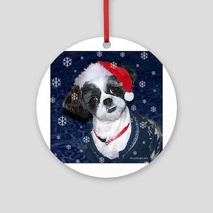 Shih Tzu Santa Ornament (Round)