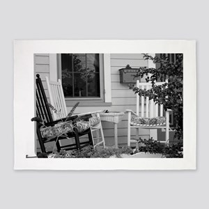 Porch Chairs - black and white 5'x7'Area Rug