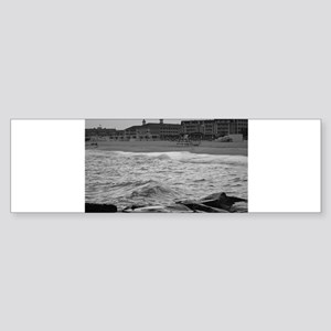 Cape May Beach - black and white Bumper Sticker