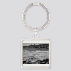 Cape May Beach - black and white Keychains