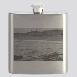 Cape May Beach - black and white Flask
