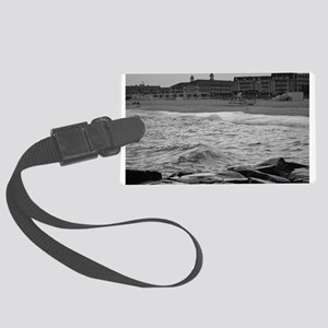 Cape May Beach - black and white Luggage Tag