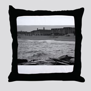 Cape May Beach - black and white Throw Pillow