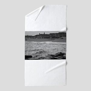 Cape May Beach - black and white Beach Towel