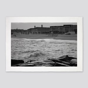 Cape May Beach - black and white 5'x7'Area Rug