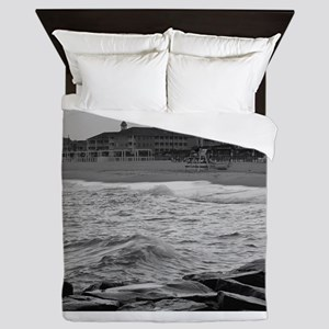 Cape May Beach - black and white Queen Duvet
