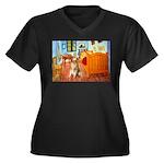 Room / Golden Women's Plus Size V-Neck Dark T-Shir