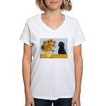 Sunflowers / Lab Women's V-Neck T-Shirt