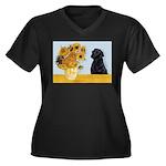 Sunflowers / Lab Women's Plus Size V-Neck Dark T-S