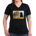 Sunflowers / Lab Women's V-Neck Dark T-Shirt