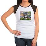 Lilies / Schnauzer Women's Cap Sleeve T-Shirt