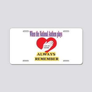 Hand Over Your Heart Aluminum License Plate