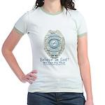 Baby Blue Badge (blue womens Jr. Ringer T-Shirt