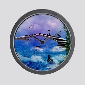 Music, piano with birds and butterflies Wall Clock