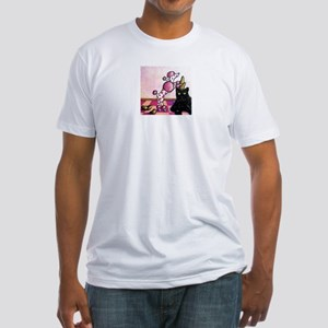 Pink Polka-dot Poodle... Fitted T-Shirt