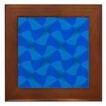 Blue Fractals Framed Tile
