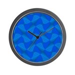 Blue Fractals Wall Clock