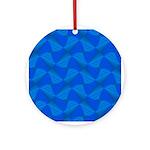 Blue Fractals Round Ornament