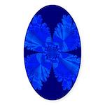 Blue Flower Fractal Oval Sticker
