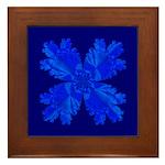 Blue Flower Fractal Framed Tile
