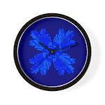 Blue Flower Fractal Wall Clock