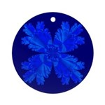 Blue Flower Fractal Ornament (Round)