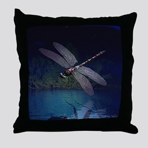 Dragonfly at Night Throw Pillow