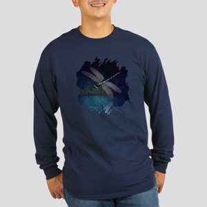Dragonfly at Night Long Sleeve Dark T-Shirt