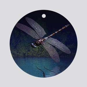Dragonfly at Night Ornament (Round)