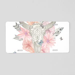 Buffalo Skull Aluminum License Plate