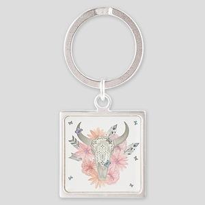 Buffalo Skull Square Keychain