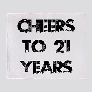 Cheers To 21 Years Designs Throw Blanket
