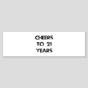 Cheers To 21 Years Designs Sticker (Bumper)