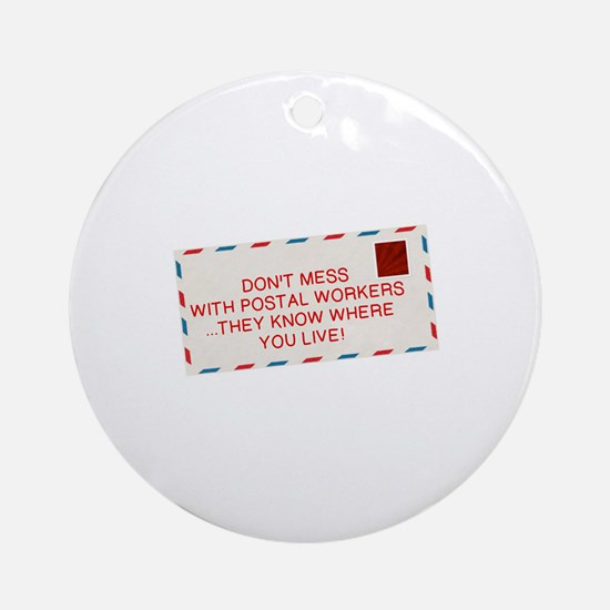 Funny Postal Round Ornament