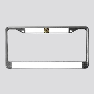 Gold and silver squares formin License Plate Frame