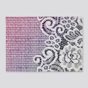 country chic purple burlap lace 5'x7'Area Rug